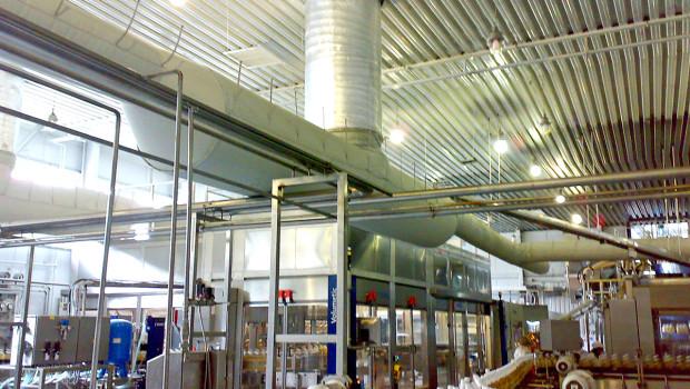 Система текстильного повітророзподілення цеху розливу безалкогольних напоїв розроблено фахівцями ТОВ «Ватіс»)